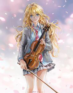 anime series blonde long hair girl music instrument violin shigatsuwa kimino uso miyazono kaori character wallpaper background