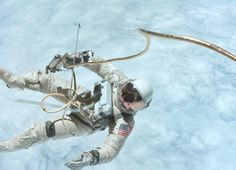 Astronaut Ed White floats in zero gravity of space off the coast of California during the Gemini IV mission.
