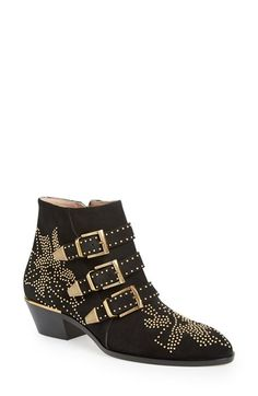 Free shipping and returns on Chloé 'Suzanna' Stud Bootie (Women) at Nordstrom.com. Pinpoint studs in striking floral patterns illuminate the Western-inspired profile of an impeccably crafted suede ankle boot featuring a trio of buckle straps.
