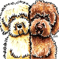 Cream & Chocolate Labradoodles Ink & Pencil Drawing by Andie of Off-Leash Art.