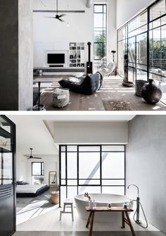 "This beautiful industrial chic home in Tel Aviv, Israel, was planned for a family of four. Architect studio NeumanHayner designed two cubes separated by a passage, creating an ""L"" shaped house. The fr Industrial Interior Design, Vintage Industrial Decor, Industrial House, Home Interior Design, Interior Architecture, Industrial Style, Industrial Lamps, Industrial Office, Antique Decor"