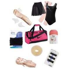 Whats in my dance bag by shbookgirl on Polyvore featuring polyvore fashion style Bloch Sansha NIKE Goody Capezio