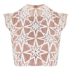For Love and Lemons Metz Crop Top Latte ($240) ❤ liked on Polyvore featuring tops, crop top, lacy tops, lace top, cut-out crop tops and geometric crop top