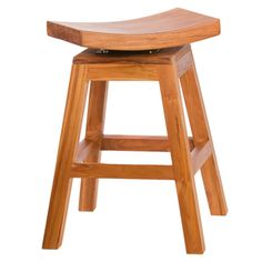 24 inch Counter High Stool in Solid Teak with Swivel Seat