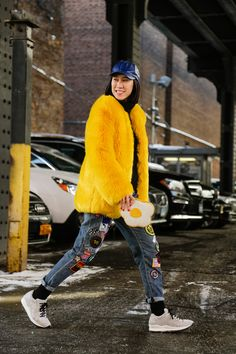 Eva Chen | Street Style, New York Fashion Week: 24 shots of fun fur, primary hues and chic Canucks