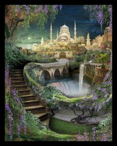 Lost Lands of Imagination  The Hanging Gardens of by indigolights, $20.00