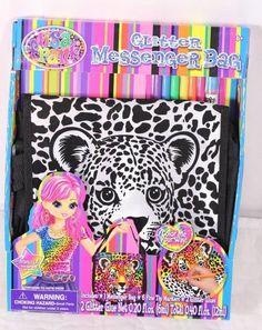 Lisa Frank Glitter Messenger Bag Cheetah Leopard Craft Kit Glitter Glue Markers #CreativeKidsLtd