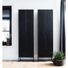 Schrank Silas in schwarz von Woood Flamingo Royale Window Dressings, Tall Cabinet Storage, My House, Modern Design, Sweet Home, New Homes, Police, Living Room, Interior Design