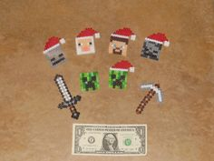 Set of 8 Perler Minecraft Characters and Tools Christmas Ornaments, Keychains or Magnets