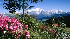 Mont Blanc View From Cordon Village Haute Savoie France wallpapers and stock photos