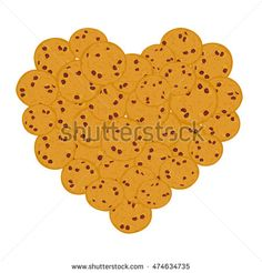 Heart Chocolate chip cookie set, Freshly baked Four cookies on white background. Bright colors. Vector