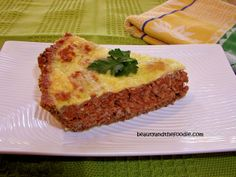 Primal Cheeseburger Pie/ grain free, gluten free and Low Carb. Can be made with or without crust. Only 3.1 net carbs with crust, and 2.2 net carbs without crust~