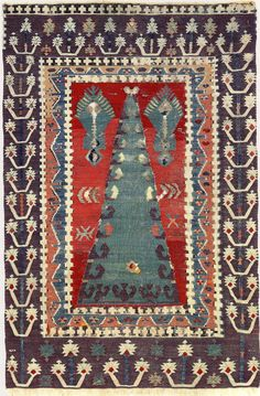 18th-century East Anatolian kilim made with silk, wool, and metallic-wrapped thread. Part of The Sultan's Garden: The Blossoming of Ottoman Art at The Textile Museum, Washington D.C.