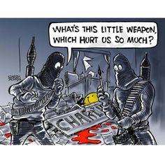 """Satish Acharya illustrateur indien """"Quelle est cette petite arme qui nous fait tant de mal ?"""""""