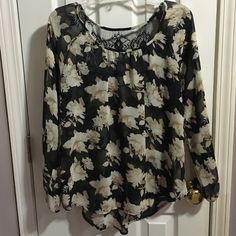 Floral Sheer Top with Lace Back Gorgeous floral top Blu-pepper Tops Blouses
