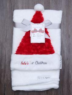 Blankets & Beyond Soft Baby Blanket & Santa Hat Set ~ Baby's 1st Christmas ~ #Blankets&Beyond #baby's1stChristmas #BabyBoy #BabyGirl #Christmas #SantaHat