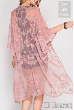 Dusty Rose Lace Kimono. Boho Kimono Cardigan bridal robe