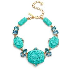 Women's Oscar De La Renta Carved Resin Statement Necklace ($950) ❤ liked on Polyvore featuring jewelry, necklaces, aqua, oscar de la renta jewelry, floral necklace, swarovski crystal jewelry, aqua necklace and oscar de la renta necklace