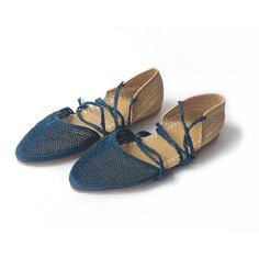 Blue Lace-up Raffia Shoes