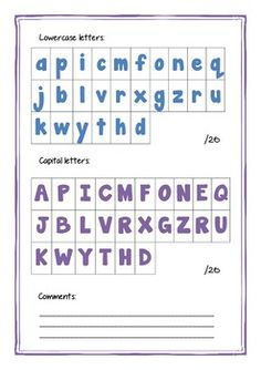 FREE~ HANDWRITING ASSESSMENT FOR CAPITAL AND LOWERCASE LETTERS ...