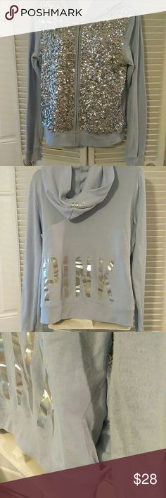 VS PINK sequin hoodie This is a size medium It is missing it's hoodie string and has noticeable pilling under arms but there are no stains or other issues It has two pockets and is a light blue/periwinkle color PINK Victoria's Secret Tops Sweatshirts & Hoodies