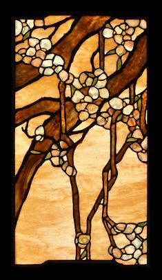 weeping cherry leaded glass window