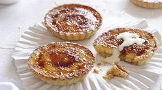 Caramel cream tartlets with almond pastry | A beautiful dessert to top off a special meal, these divine caramel tartlets are a great way to use the food depts' Salted cardamom dulce de leche (see the link to the recipe below). But if time is of the essence you can use canned caramel from the cake aisle of your supermarket.