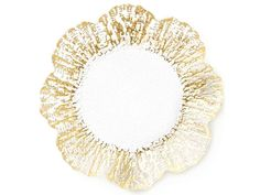 Vietri Ruffle Glass Gold Canape Plate Set of 8