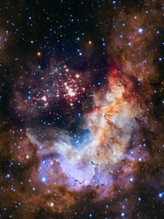 Star Cluster Westerlund 2 in the Carina is 20,000 light years away from the Earth and consists of 3000 stars. Image credit: ESA