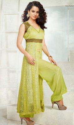 Kangana Ranaut Lime Green Georgette Salwar Suit Price: Usa Dollar $168, British UK Pound £99, Euro124, Canada CA$182 , Indian Rs9072.