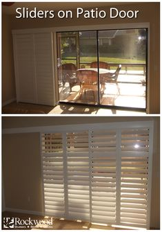 Sliding Shutters are great for sliding glass patio doors. Rockwood available at Home Depot. Sliding Door Window Treatments, Home, House Design, Windows, Patio Door Coverings, Patio Doors, Sliding Shutters, Sliding Glass Door, Basement Windows
