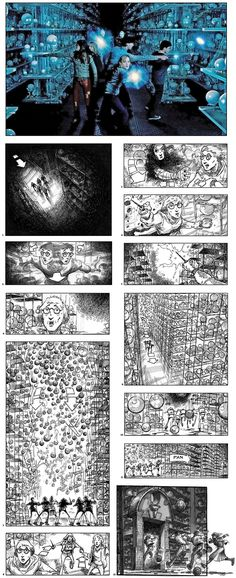 Storyboards by Jim Cornish show CGI crystal balls spilling from shelves as Harry and friends escape the Hall of Prophecy in David Yates' Harry Potter and the Order of the Phoenix David Yates, Crystal Ball, Storyboard, Harry Potter, Drawing Board, Cgi, Drawings, Sketching, Phoenix