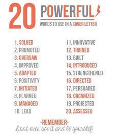 Powerful words to use in a cover letter. Buzz Words