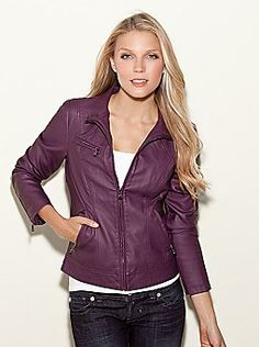 Guess. Love this jacket! Purple Leather JacketFaux Leather JacketsWomen's  ...