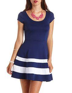 Short Sleeve Striped Skater Dress: Charlotte Russe $26.99