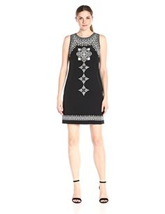 Vince Camuto Womens Sleeveless Ornate Blocks Panel Shift Dress Rich Black 8 *** Check out the image by visiting the link. (This is an affiliate link) #Sleevelessdresses