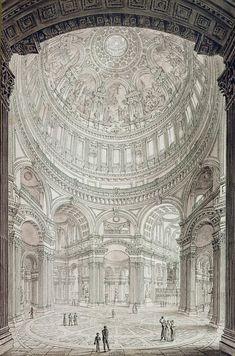 Architecture Drawings - Interior of Saint Pauls Cathedral by John Coney Architecture Drawings, Architecture Design, Art Sketches, Art Drawings, Drawing Interior, Fantasy Castle, Illustration Art, Illustrations, A Level Art