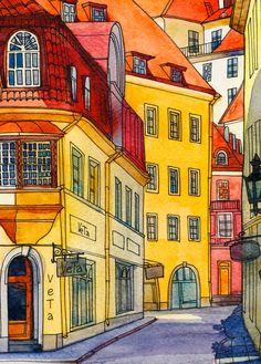 Old Tallinn #architecture #watercolor #watercolorart #watercolorarchitecture #winsorandnewton #tallinn #estonia #illustration #olgabegak #watercolorprint #artprint #artprintforsale #artforsale
