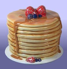 """Stack of pancakes cookie jar - """"Hidden in Plain Site"""" ceramic lesson. Create a realistic and functional object that fits in to its surroundings.  I'm brainstorming a lesson as we speak."""