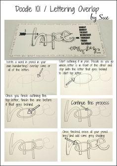 Lettering Overlap by Sue Carroll Doodle Lettering, Creative Lettering, Lettering Styles, Lettering Ideas, Brush Lettering, Scripture Art, Bible Art, Doodle Drawings, Doodle Art