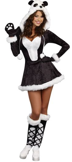 Zipper front stretch velvet dress with faux fur trimmed hood, panda bear face and pom pom ties. Includes mittens with paw print, faux fur trimmed boot covers, and attached tail. Fits adult womens small sizes 2-6. Polyester.