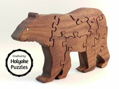 Bear wood puzzle - Stand up Jigsaw Puzzle in Walnut - Wooden puzzle by HolyokePuzzles on Etsy