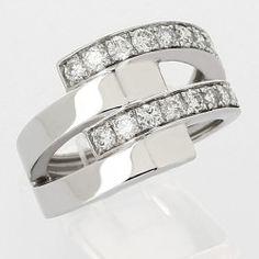 Bague entrelacée 4 anneaux serti grains diamants 0,84 carat-or 18 carats