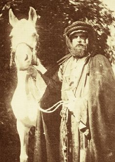 Sherifa [x] c.1862, a Hamdaniah Simriah from the house of Saud, pictured above at Crabbet Park; the man is Wilfried Blunt, one of the people to first originally import horses to the Crabbet stud.