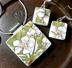 RECYCLED BROKEN CHINA Plate Necklace and Earring Set - Strawberry Blossoms. $45.00, via Etsy.
