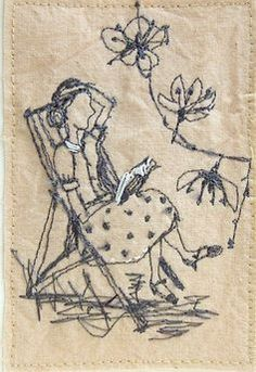 """""""Betty has a Quiet Moment"""" ~ Machine Embroidery by Michelle Holmes . Freehand Machine Embroidery, Free Motion Embroidery, Free Machine Embroidery, Vintage Embroidery, Embroidery Applique, Cross Stitch Embroidery, Embroidery Patterns, Thread Painting, Thread Art"""