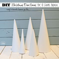 How to Make Christmas Tree Cone Craft Forms for 10 Cents Apiece Make these cones for 10 cents apiece and use them to create your own gorgeous mini Christmas Trees- full tutorial at The Happy Housie How To Make Christmas Tree, Cone Christmas Trees, Christmas Tree Crafts, Christmas Projects, Simple Christmas, Winter Christmas, Christmas Ornaments, Cone Trees, Christmas 2019