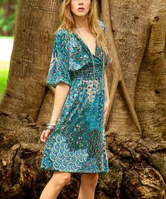 Another great find on #zulily! Cristina Love Blue Abstract Surplice Dress by Cristina Love #zulilyfinds