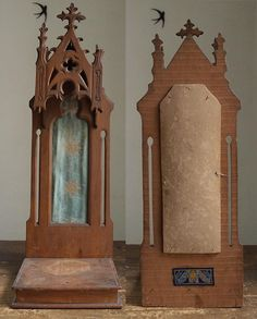 Wooden Chapel Neo Gothic Shrine Gothic Revival Spanish 1910s   Etsy Carton Box, Wisteria, Alters, Bookends, Modern Art, Medieval, Spanish, Gothic, Miniature