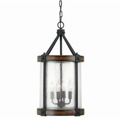 Kichler Lighting Barrington 12.01-in W Distressed Black and Wood Pendant Light with Clear Glass Shade